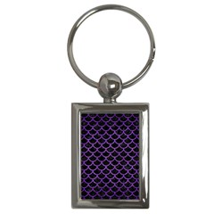 Scales1 Black Marble & Purple Brushed Metal (r) Key Chains (rectangle)  by trendistuff