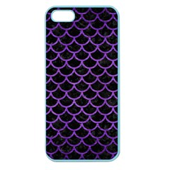 Scales1 Black Marble & Purple Brushed Metal (r) Apple Seamless Iphone 5 Case (color) by trendistuff