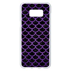 Scales1 Black Marble & Purple Brushed Metal (r) Samsung Galaxy S8 Plus White Seamless Case by trendistuff