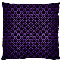 Scales2 Black Marble & Purple Brushed Metal (r) Large Cushion Case (two Sides) by trendistuff
