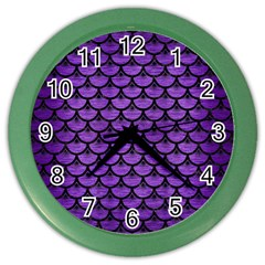 Scales3 Black Marble & Purple Brushed Metal Color Wall Clocks by trendistuff