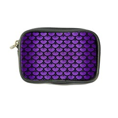 Scales3 Black Marble & Purple Brushed Metal Coin Purse by trendistuff