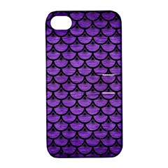 Scales3 Black Marble & Purple Brushed Metal Apple Iphone 4/4s Hardshell Case With Stand by trendistuff