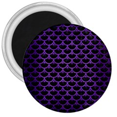 Scales3 Black Marble & Purple Brushed Metal (r) 3  Magnets by trendistuff
