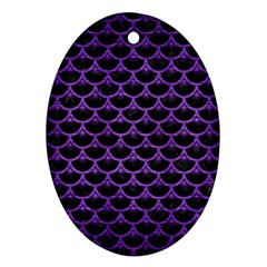 Scales3 Black Marble & Purple Brushed Metal (r) Ornament (oval) by trendistuff