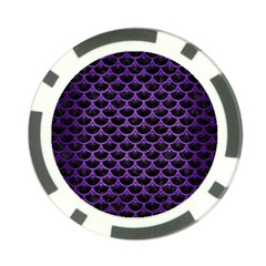 Scales3 Black Marble & Purple Brushed Metal (r) Poker Chip Card Guard by trendistuff