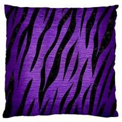 Skin3 Black Marble & Purple Brushed Metal Large Flano Cushion Case (one Side) by trendistuff