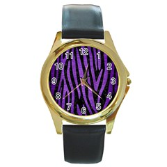 Skin4 Black Marble & Purple Brushed Metal Round Gold Metal Watch by trendistuff