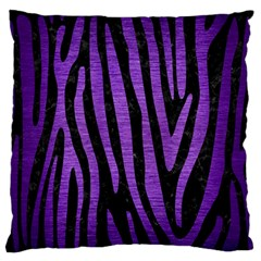 Skin4 Black Marble & Purple Brushed Metal Large Flano Cushion Case (one Side) by trendistuff
