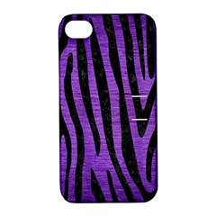Skin4 Black Marble & Purple Brushed Metal (r) Apple Iphone 4/4s Hardshell Case With Stand by trendistuff