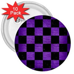 Square1 Black Marble & Purple Brushed Metal 3  Buttons (10 Pack)  by trendistuff