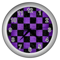 Square1 Black Marble & Purple Brushed Metal Wall Clocks (silver)  by trendistuff