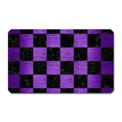 Square1 Black Marble & Purple Brushed Metal Magnet (rectangular) by trendistuff