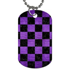 Square1 Black Marble & Purple Brushed Metal Dog Tag (one Side) by trendistuff