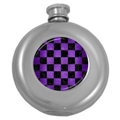 Square1 Black Marble & Purple Brushed Metal Round Hip Flask (5 Oz) by trendistuff