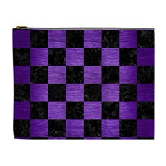 Square1 Black Marble & Purple Brushed Metal Cosmetic Bag (xl) by trendistuff