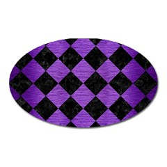 Square2 Black Marble & Purple Brushed Metal Oval Magnet by trendistuff
