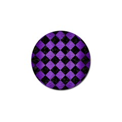 Square2 Black Marble & Purple Brushed Metal Golf Ball Marker (4 Pack) by trendistuff