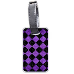 Square2 Black Marble & Purple Brushed Metal Luggage Tags (one Side)  by trendistuff