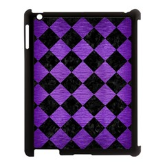 Square2 Black Marble & Purple Brushed Metal Apple Ipad 3/4 Case (black) by trendistuff
