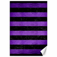 Stripes2 Black Marble & Purple Brushed Metal Canvas 12  X 18   by trendistuff