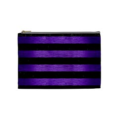 Stripes2 Black Marble & Purple Brushed Metal Cosmetic Bag (medium)  by trendistuff