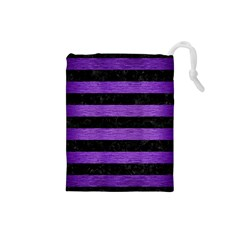 Stripes2 Black Marble & Purple Brushed Metal Drawstring Pouches (small)  by trendistuff