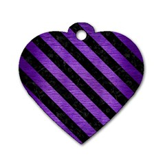Stripes3 Black Marble & Purple Brushed Metal Dog Tag Heart (one Side) by trendistuff