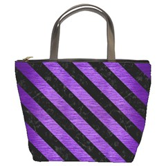 Stripes3 Black Marble & Purple Brushed Metal Bucket Bags by trendistuff