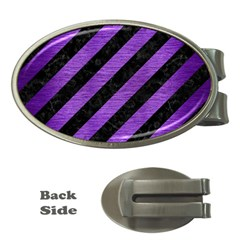 Stripes3 Black Marble & Purple Brushed Metal (r) Money Clips (oval)  by trendistuff