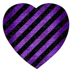 Stripes3 Black Marble & Purple Brushed Metal (r) Jigsaw Puzzle (heart) by trendistuff