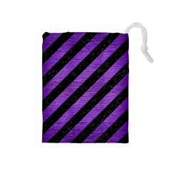 Stripes3 Black Marble & Purple Brushed Metal (r) Drawstring Pouches (medium)  by trendistuff