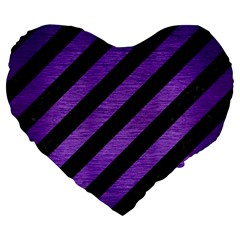 Stripes3 Black Marble & Purple Brushed Metal (r) Large 19  Premium Flano Heart Shape Cushions by trendistuff