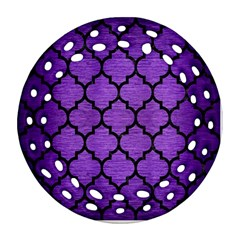 Tile1 Black Marble & Purple Brushed Metal Ornament (round Filigree) by trendistuff