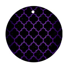 Tile1 Black Marble & Purple Brushed Metal (r) Round Ornament (two Sides) by trendistuff