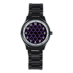 Tile1 Black Marble & Purple Brushed Metal (r) Stainless Steel Round Watch