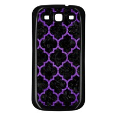 Tile1 Black Marble & Purple Brushed Metal (r) Samsung Galaxy S3 Back Case (black) by trendistuff