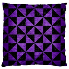 Triangle1 Black Marble & Purple Brushed Metal Large Cushion Case (two Sides) by trendistuff