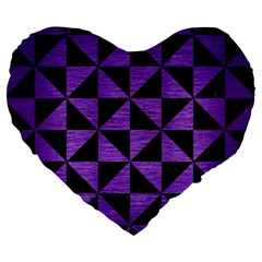 Triangle1 Black Marble & Purple Brushed Metal Large 19  Premium Heart Shape Cushions by trendistuff