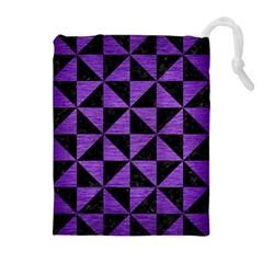 Triangle1 Black Marble & Purple Brushed Metal Drawstring Pouches (extra Large) by trendistuff