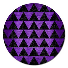Triangle2 Black Marble & Purple Brushed Metal Magnet 5  (round) by trendistuff