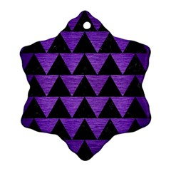 Triangle2 Black Marble & Purple Brushed Metal Snowflake Ornament (two Sides) by trendistuff