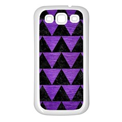 Triangle2 Black Marble & Purple Brushed Metal Samsung Galaxy S3 Back Case (white) by trendistuff