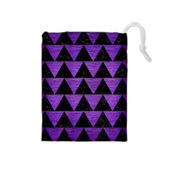 Triangle2 Black Marble & Purple Brushed Metal Drawstring Pouches (medium)  by trendistuff