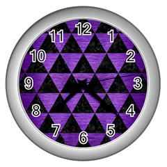 Triangle3 Black Marble & Purple Brushed Metal Wall Clocks (silver)  by trendistuff