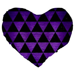 Triangle3 Black Marble & Purple Brushed Metal Large 19  Premium Heart Shape Cushions by trendistuff