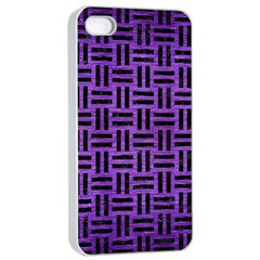 Woven1 Black Marble & Purple Brushed Metal Apple Iphone 4/4s Seamless Case (white) by trendistuff
