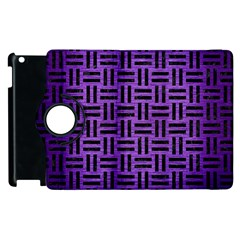 Woven1 Black Marble & Purple Brushed Metal Apple Ipad 3/4 Flip 360 Case by trendistuff