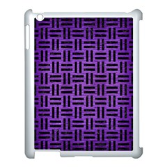 Woven1 Black Marble & Purple Brushed Metal Apple Ipad 3/4 Case (white) by trendistuff