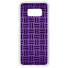 Woven1 Black Marble & Purple Brushed Metal Samsung Galaxy S8 White Seamless Case by trendistuff